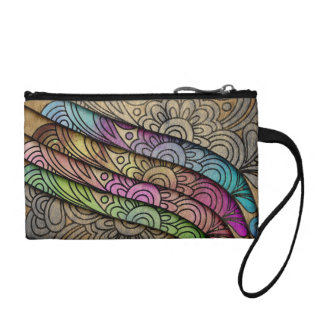 Trendy Watercolor Floral Print Coin Purse