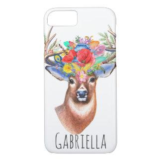 Trendy Watercolor Floral Stag Deer & Name iPhone 8/7 Case