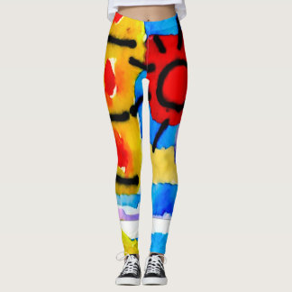 Trendy Watercolor Fun Abstract Leggings