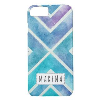 Trendy watercolor geometric stripes blue purple iPhone 7 case
