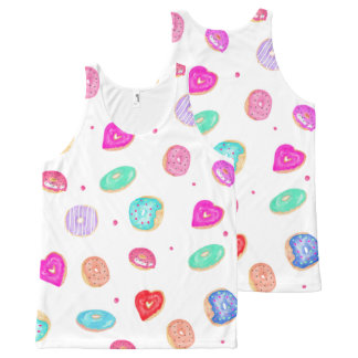Trendy watercolor hand painted donuts food pattern All-Over print tank top