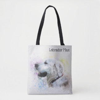 Trendy Watercolor Labrador Retriever Personalized Tote Bag