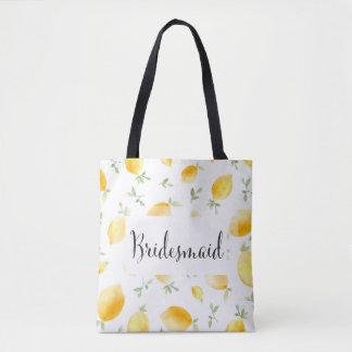 Trendy Watercolor Lemon Wedding Tote Bag