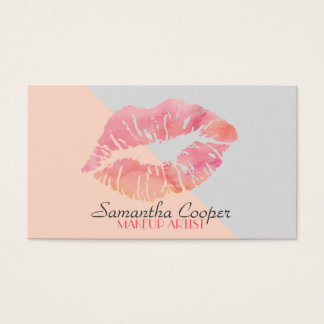 Trendy Watercolor Lips Makeup Artist Business Card