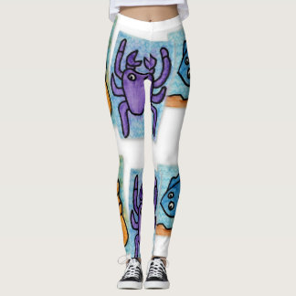 Trendy Watercolor Ocean Life Leggings