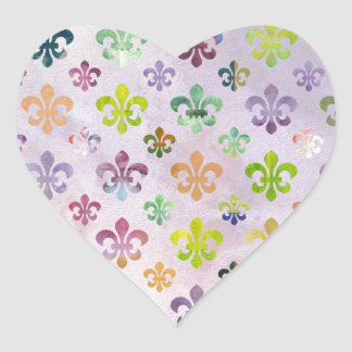 Trendy Watercolor Painting Fleur De Lis Pattern Heart Sticker