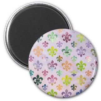 Trendy Watercolor Painting Fleur De Lis Pattern Magnet