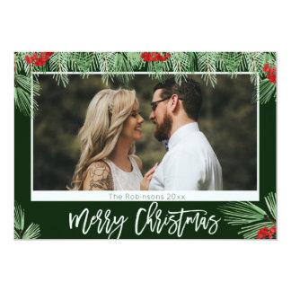 Trendy Watercolor Script Merry Christmas Photo Card