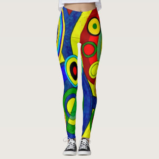 Trendy Watercolor Shapes Abstract Leggings