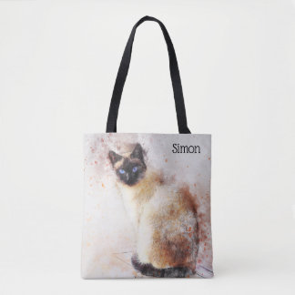 Trendy Watercolor Siamese Cat Personalized Tote Bag