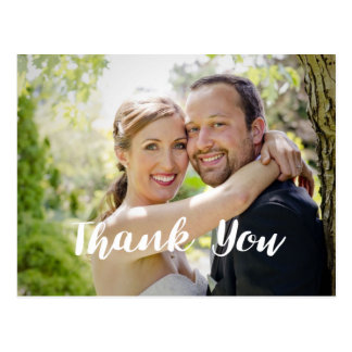 Trendy Wedding Photo Thank You Horizontal Postcard