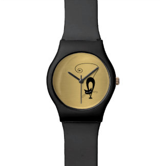 Trendy whimsical funny cat gold watch
