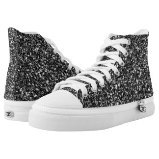 Trendy White And Black Glitter High Tops