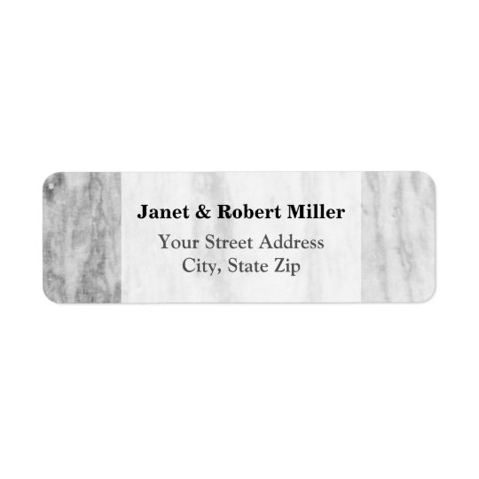 Trendy White And Grey Marble Texture Pattern Return Address Label