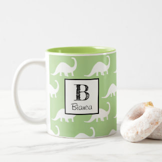 Trendy White Brontosaurus Dinosaurs Personalized Two-Tone Coffee Mug