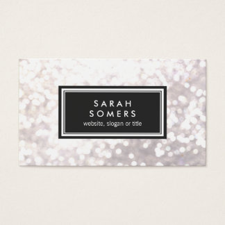 Trendy White Glitter Bokeh Stylish Black Plaque