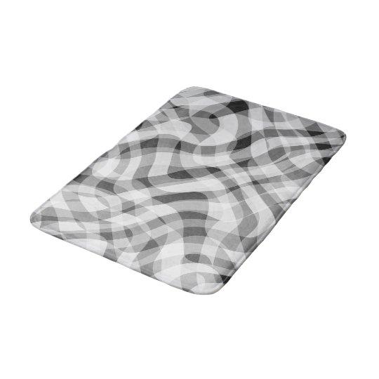 Trendy White Grey Black Retro Wavy Stripes Pattern Bath