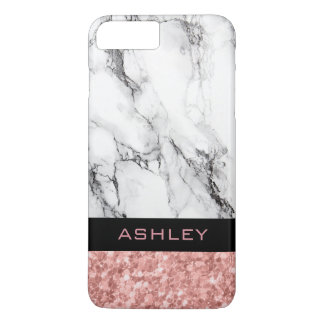 Trendy White Marble And Rose Gold Glitter iPhone 8 Plus/7 Plus Case