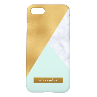 Trendy White Marble Faux Gold Foil and Mint iPhone 8/7 Case