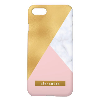 Trendy White Marble Faux Gold Foil and Pink iPhone 8/7 Case