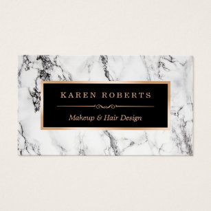 Beauty business cards zazzle uk trendy white marble makeup artist hair salon business card colourmoves Image collections