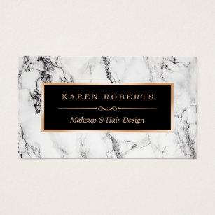 Makeup artist business cards zazzle uk trendy white marble makeup artist hair salon business card reheart Images