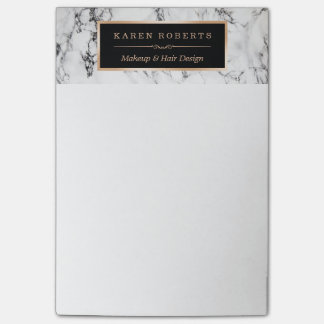 Trendy White Marble Texture Stylish Gold Frame Post-it Notes