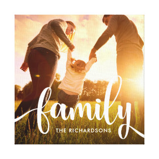 Brush Hand Lettering Family Script Photo Canvas