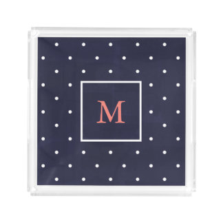 Trendy White Polka Dots on Blue | Coral Monogram