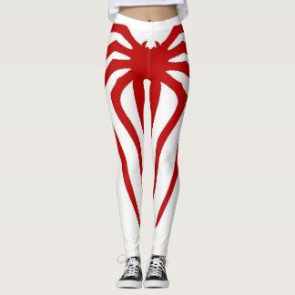 Trendy White & Red Spider Design Fitness Leggings