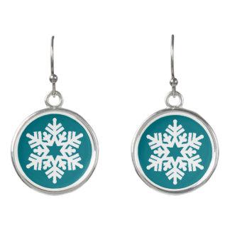 Trendy White Snowflake On Green Fun Drop Earrings