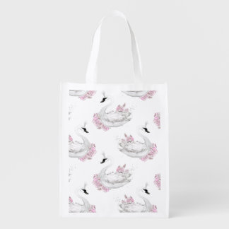 Trendy White Swan with pink Flowers Pattern