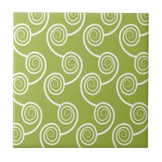 Trendy White Swirl pattern On Green Ceramic Tiles