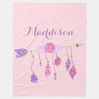 Trendy Women's Teen Girls Boho Arrow Feather Rose Fleece Blanket