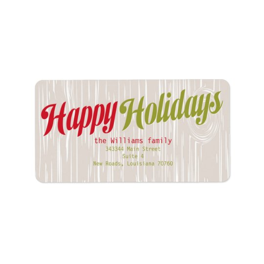 Trendy Wood Grain Holiday Address Label