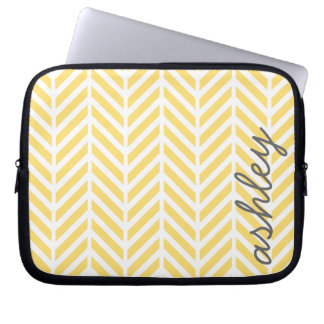Trendy Yellow and Gray Chevron Pattern Laptop Sleeve