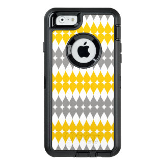 Trendy Yellow And Gray Tear Drop Pattern OtterBox Defender iPhone Case