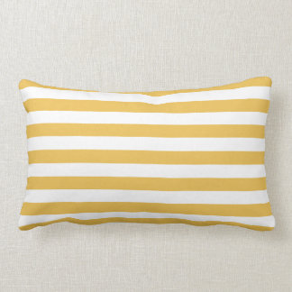 Trendy Yellow and White Wide Horizontal Stripes Lumbar Cushion