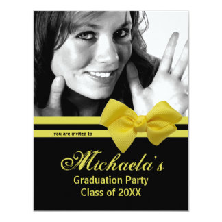 Trendy Yellow Bow Graduation Party Photo Invite 1