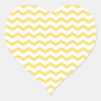 Trendy Yellow Chevron Pattern Heart Sticker