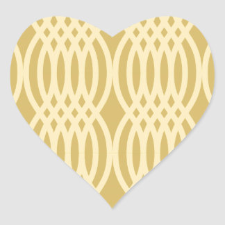 Trendy Yellow & Gold Moroccan pattern Heart Sticker