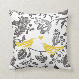 Trendy Yellow Gray and White Floral Bird Pattern Throw Cushions
