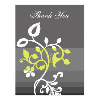 trendy  yellow gray ThankYou Cards Postcard