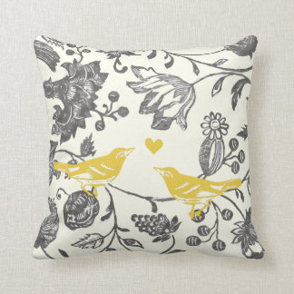 Trendy Yellow Gray Vintage Floral Bird Pattern Cushion