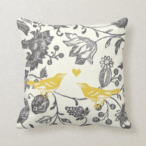 Trendy Yellow Gray Vintage Floral Bird Pattern Throw Pillows
