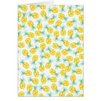 Trendy yellow green watercolor pineapple pattern card