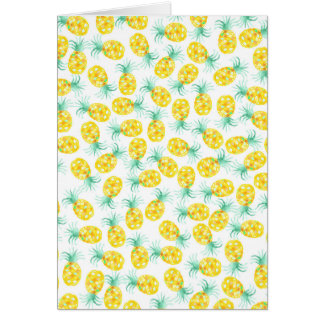Trendy yellow green watercolor pineapple pattern greeting card