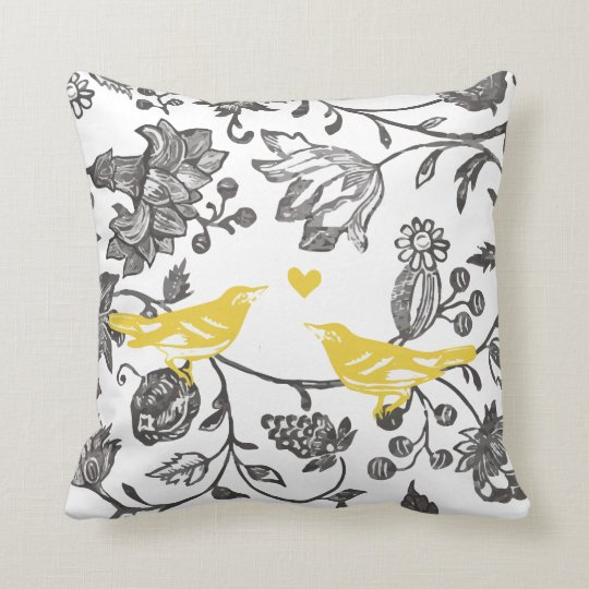 Trendy Yellow Grey and White Floral Bird Pattern