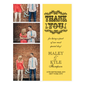 Trendy Yellow Photo Wedding Thank You Post Card