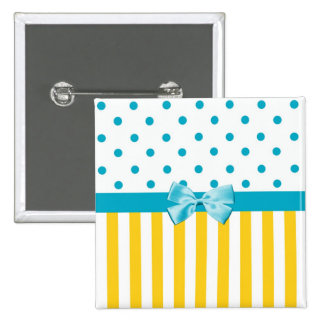 Trendy Yellow Stripes With Blue Ribbon Button
